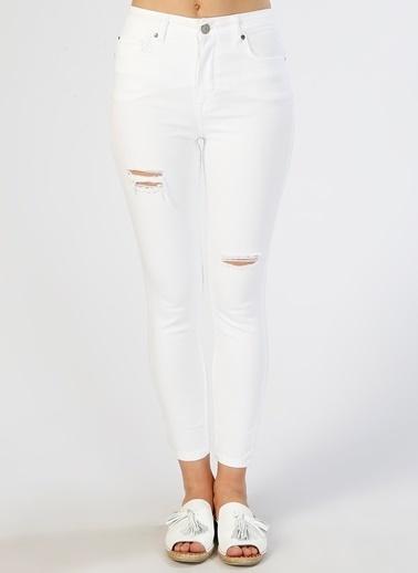 Mustang Mustang Eskitme Tasarımlı Beyaz Denim Pantolon Beyaz
